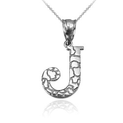 "Sterling Silver Nugget Initial Letter ""J"" Pendant Necklace"
