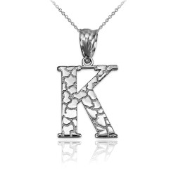 "White Gold Nugget Initial Letter ""K"" Pendant Necklace"