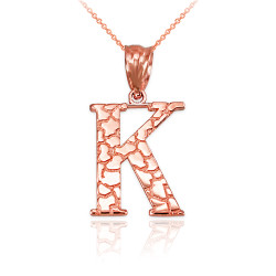 "Rose Gold Nugget Initial Letter ""K"" Pendant Necklace"