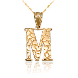 "Yellow Gold Nugget Initial Letter ""M"" Pendant Necklace"
