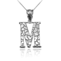 """White Gold Nugget Initial Letter """"M"""" Pendant Necklace"""