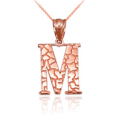 "Rose Gold Nugget Initial Letter ""M"" Pendant Necklace"