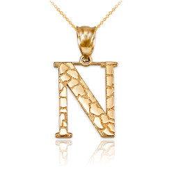 "Yellow Gold Nugget Initial Letter ""N"" Pendant Necklace"