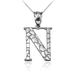 """White Gold Nugget Initial Letter """"N"""" Pendant Necklace"""