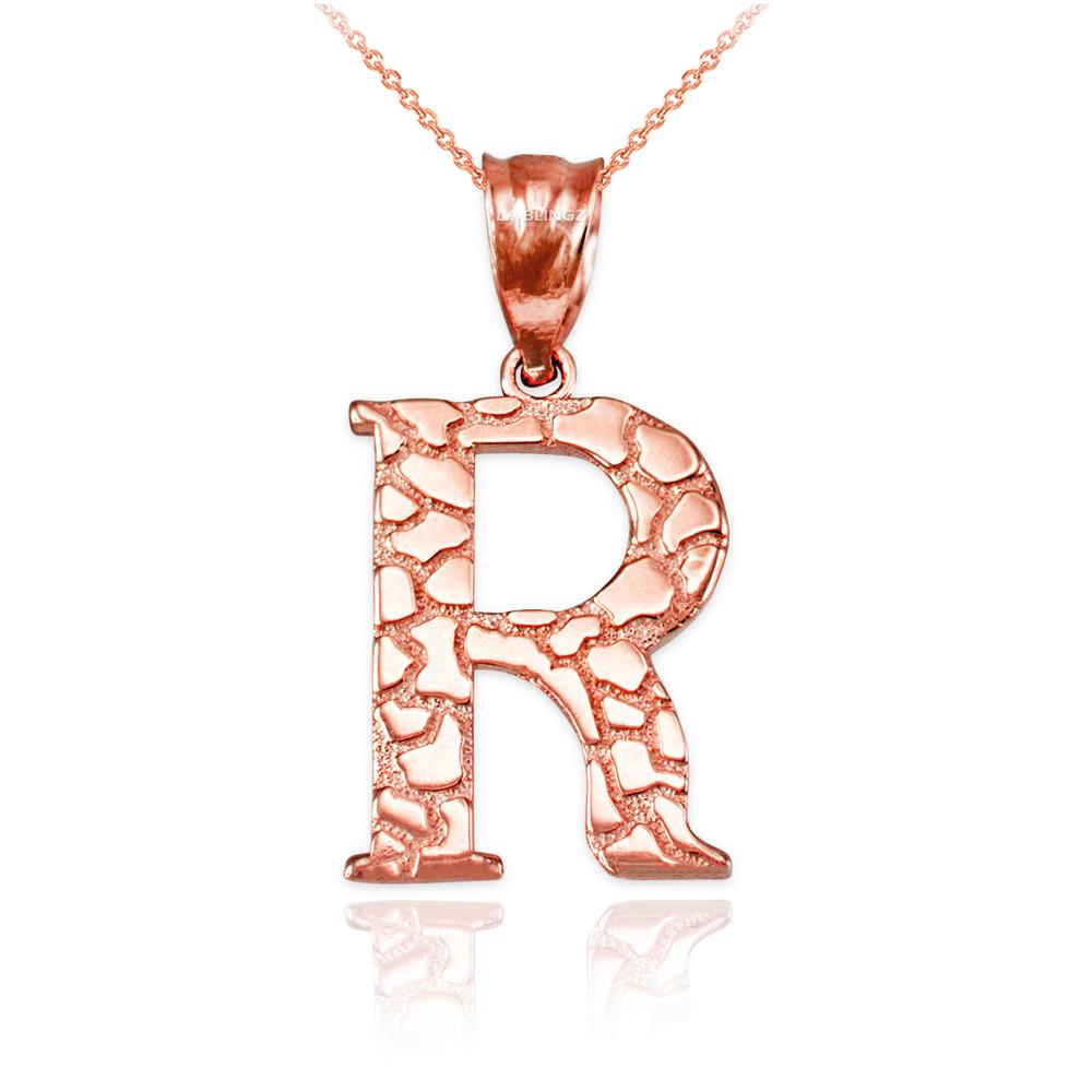 LA BLINGZ 14K Rose Gold Nugget Initial Letter P Necklace