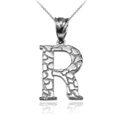 """Sterling Silver Nugget Initial Letter """"R"""" Pendant Necklace"""