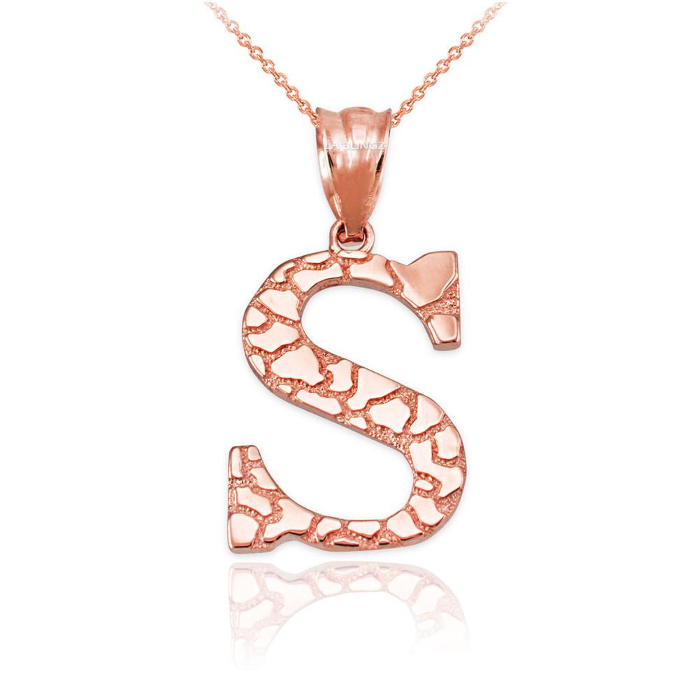 LA BLINGZ 14K Rose Gold Nugget Initial Letter R Pendant