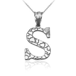 """Sterling Silver Nugget Initial Letter """"S"""" Pendant Necklace"""