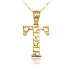 "Yellow Gold Nugget Initial Letter ""T"" Pendant Necklace"
