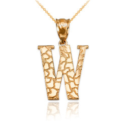 "Yellow Gold Nugget Initial Letter ""W"" Pendant Necklace"