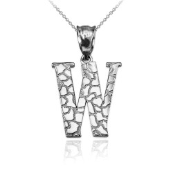 """Sterling Silver Nugget Initial Letter """"W"""" Pendant Necklace"""
