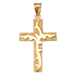 Yellow Gold Branch Cross Pendant