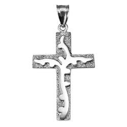 White Gold Branch Cross Pendant