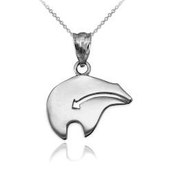 Sterling Silver Zuni Bear Heartline Arrow  Charm Necklace