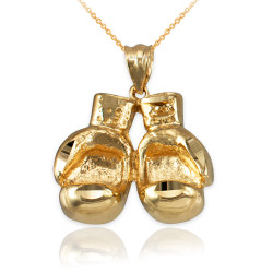 Yellow Gold Boxing Gloves DC Pendant Necklace