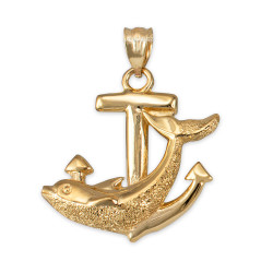 Yellow Gold Mariner Anchor Dolphin Pendant