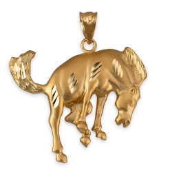 Yellow Gold Bucking Stallion Horse Satin DC Pendant