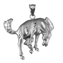 White Gold Bucking Stallion Horse Satin DC Pendant