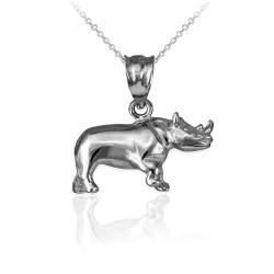 Polished White Gold Rhino Charm Necklace