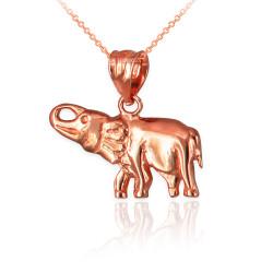 Polished Rose Gold Elephant Charm Necklace