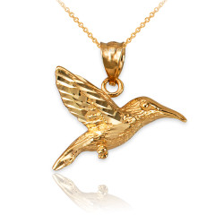 Yellow Gold Hummingbird DC Charm Necklace