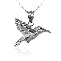 White Gold Hummingbird DC Charm Necklace