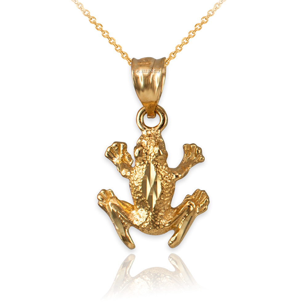 LA BLINGZ 14K Yellow Gold Textured Frog DC Necklace