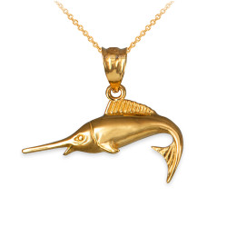 Yellow Gold Marlin Fish Charm Necklace