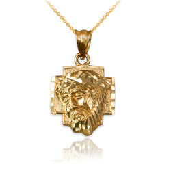 Yellow Gold Jesus Face Cross DC Charm Necklace