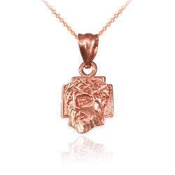 Rose Gold Tiny Jesus Face Cross DC Charm Necklace