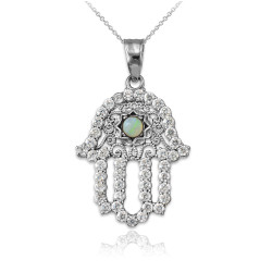 Diamond Studded White Gold Filigree White Opal Hamsa Charm Necklace