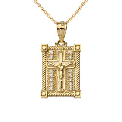 Yellow Gold Diamond Boxed Cross Charm Necklace
