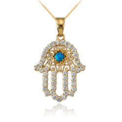Diamond Studded Gold Filigree Turquoise Hamsa Charm Necklace
