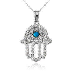 Diamond Studded White Gold Filigree Hamsa Turquoise Charm Necklace