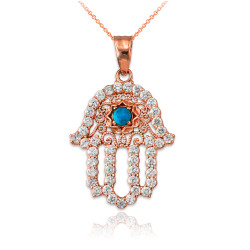 Diamond Studded Rose Gold Filigree Hamsa Turquoise Charm Necklace