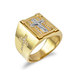 Solid Yellow Gold Diamond Cross Boxed White Crucifix Mens Statement Ring
