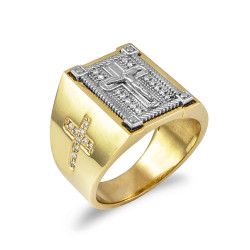 Two-Tone Yellow Gold Diamond Cross White Boxed Crucifix Mens Ring