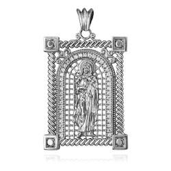 White Gold Filigree Guadalupe Sacred Heart of Jesus Diamond Pendant