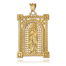 Yellow Gold Filigree Guadalupe Sacred Heart of Jesus CZ Iced Pendant