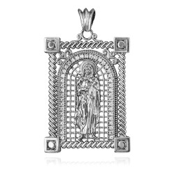 White Gold Filigree Guadalupe Sacred Heart of Jesus CZ Iced Pendant