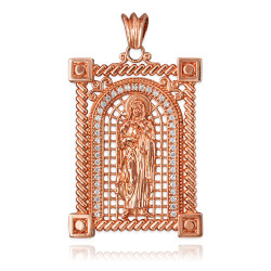 Rose Gold Filigree Guadalupe Sacred Heart of Jesus CZ Iced Pendant