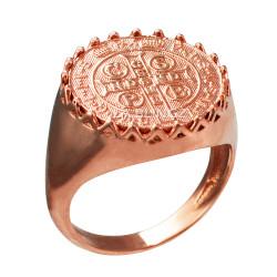 Solid Rose Gold Saint Benedict Medal Mens Ring