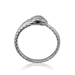 Sterling Silver Ouroboros Snake Blue Sapphire Ring