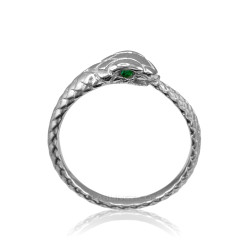 Sterling Silver Ouroboros Snake Emerald Ring