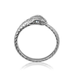 Sterling Silver Ouroboros Snake Diamond Ring