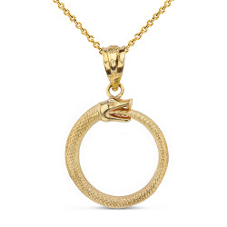 Yellow Gold Ouroboros Tail Biting Snake Pendant Necklace