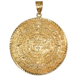 Gold Aztec Mayan Sun Calendar Extra Large Pendant (XL/XXL)