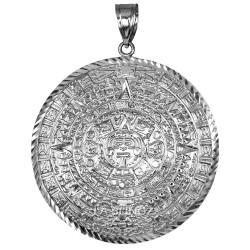 White Gold Aztec Mayan Sun Calendar Extra Large Pendant (XL/XXL)