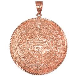 Rose Gold Aztec Mayan Sun Calendar Extra Large Pendant (XL/XXL)