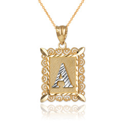 "Two-tone Gold Filigree Alphabet Initial Letter ""A"" DC Pendant Necklace"
